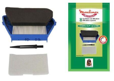 Moulinex MT001001 Kit filtration Compacteo Cyclonic (1 filtre hepa + 1 filtre d'entrée d'air + 1 bro