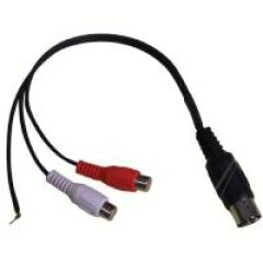 C?BLE AUDIO 5 BROCHES DIN VERS 2X RCA FEMELLE + FICHE TERRE.