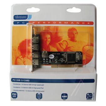 IO 4+1 USB2-N PCI USB 2.0 PC-CARTE,4 EXTERNE+1 INTERNER USB 2.0 PORT
