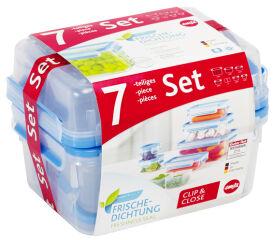 CLIP & CLOSE Boîte de conservation des aliments, 7 pièces - 0,15 // 2,3l