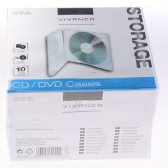 BOITES DE RANGEMENT CD, LOT DE 10, TRANSPARENT