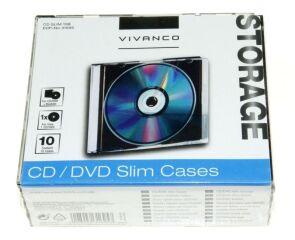 CD SLIM CASE F?R EINE CD, 10ER PACK, SCHWARZ