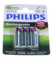 AAA PHILIPS RECHARGEABLE BATTERIE 1000MAH NIMH 4-BLISTER
