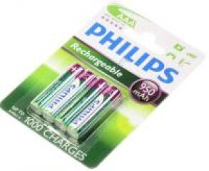 AAA PHILIPS RECHARGEABLE BATTERIE 950MAH NIMH 4-BLISTER